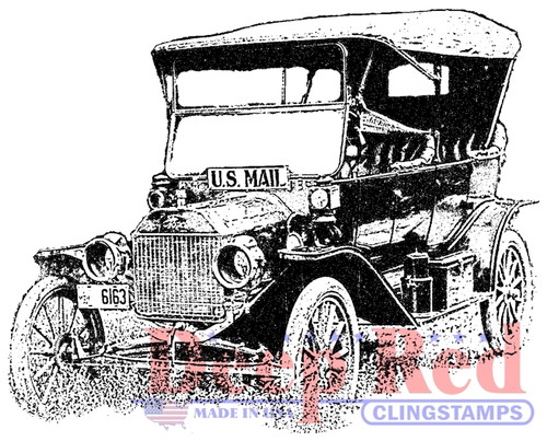 Old Mail Truck Rubber Cling Stamp by Deep Red Stamps