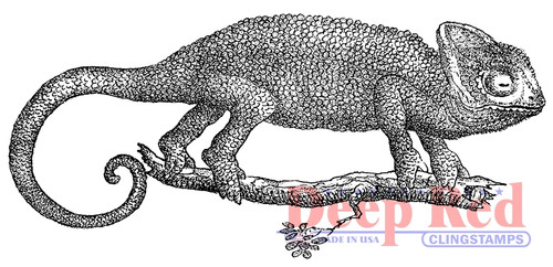 Chameleon Rubber Cling Stamp by Deep Red Stamps