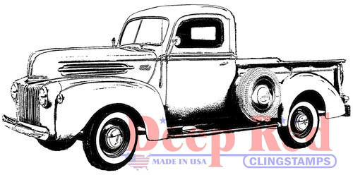 Classic Pickup Truck Rubber Cling Stamp by Deep Red Stamps