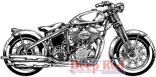 Hardtail Motorcycle Rubber Cling Stamp by Deep Red Stamps
