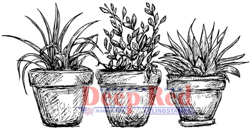 Potted Plants Rubber Cling Stamp by Deep Red Stamps