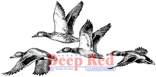 Ducks Rubber Cling Stamp by Deep Red Stamps
