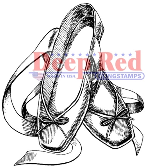 Ballet Slippers Rubber Cling Stamp by Deep Red Stamps