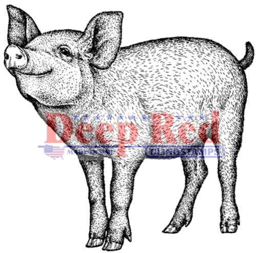 Piglet Rubber Cling Stamp by Deep Red Stamps