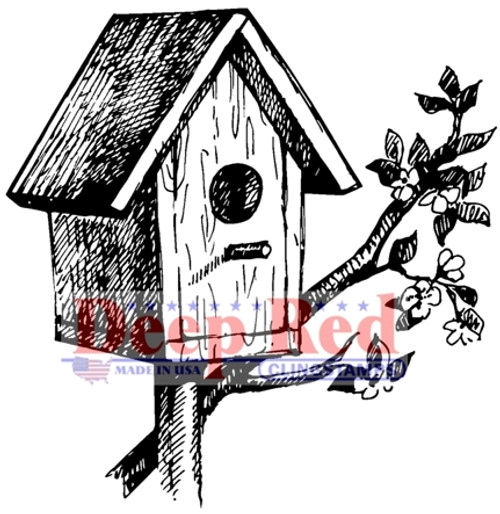 Rustic Birdhouse Rubber Cling Stamp by Deep Red Stamps