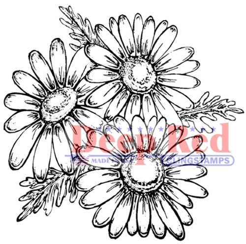 Daisies Rubber Cling Stamp by Deep Red Stamps