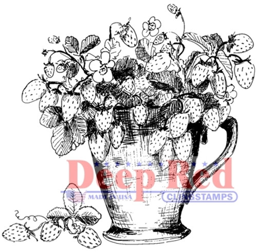 Strawberry Plant Rubber Cling Stamp by Deep Red Stamps