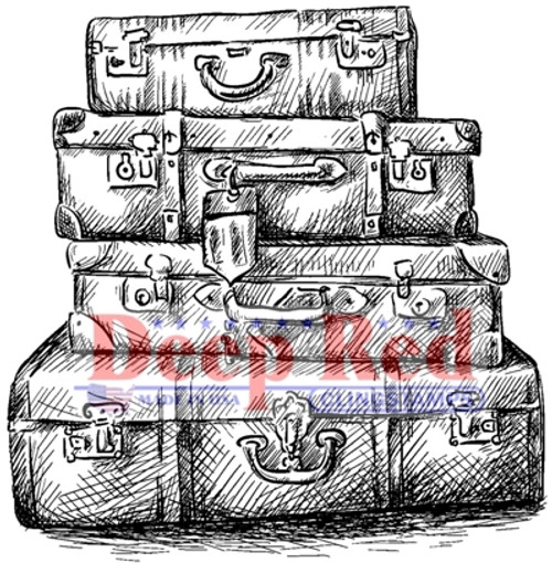 Luggage Rubber Cling Stamp by Deep Red Stamps