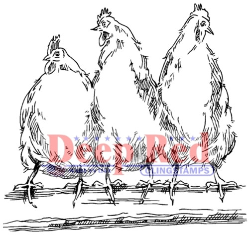 Hens Rubber Cling Stamp by Deep Red Stamps
