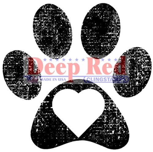 Pawprint Rubber Cling Stamp by Deep Red Stamps