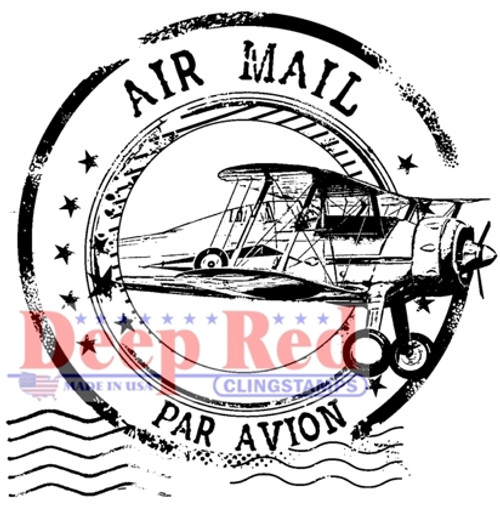 Airmail Postmark Rubber Cling Stamp by Deep Red Stamps