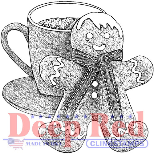Gingerbread Man and Cocoa Rubber Cling Stamp by Deep Red Stamps