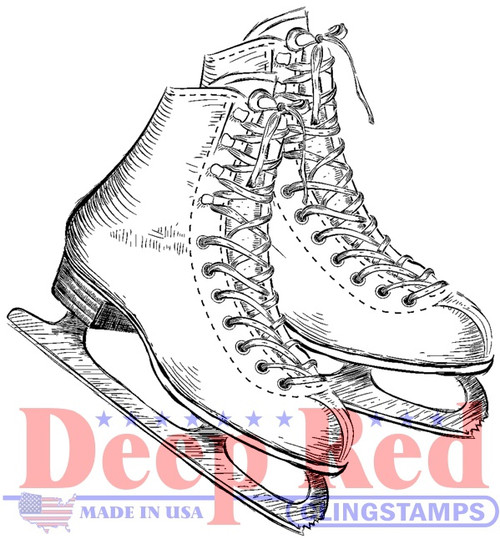 Ice Skates Rubber Cling Stamp by Deep Red Stamps