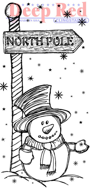 North Pole Rubber Cling Stamp by Deep Red Stamps