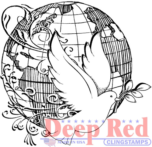 World Peace Rubber Cling Stamp by Deep Red Stamps