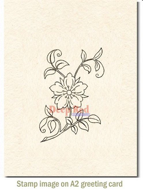 Flower Blossom Rubber Cling Stamp by Deep Red Stamps shown on A2 card