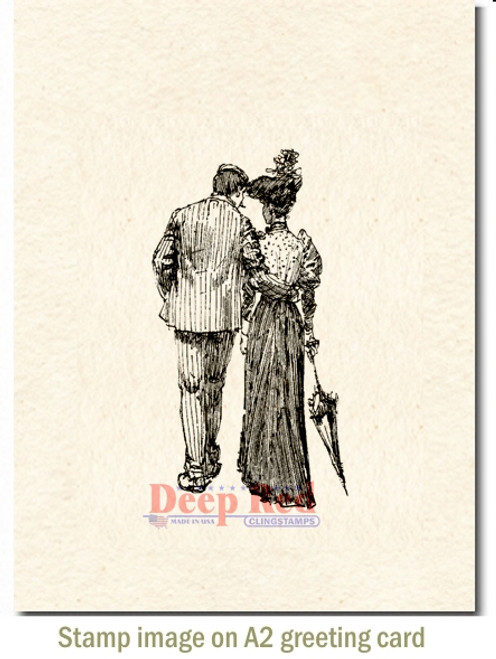 Romantic Stroll Rubber Cling Stamp by Deep Red Stamps shown on A2 card
