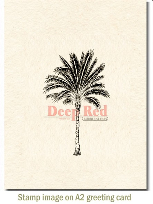 Palm Tree Rubber Cling Stamp by Deep Red Stamps shown on A2 card