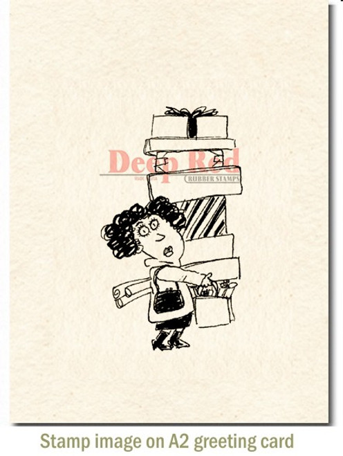 Holiday Shopper Rubber Cling Stamp by Deep Red Stamps shown on A2 card