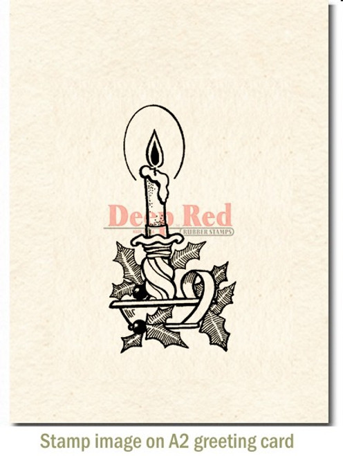 Christmas Candle Rubber Cling Stamp by Deep Red Stamps shown on A2 card