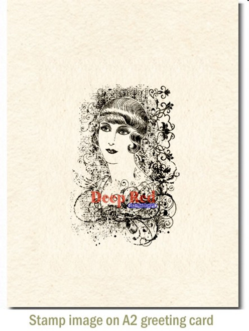 Vintage Style Rubber Cling Stamp by Deep Red Stamps shown on A2 card