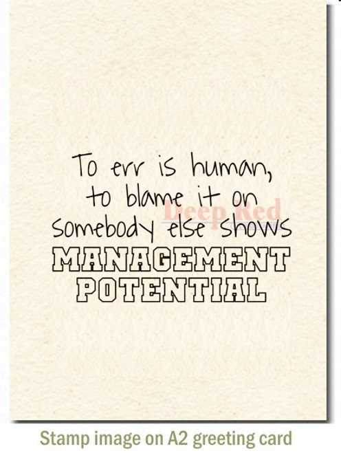 Management Potential Rubber Cling Stamp by Deep Red Stamps shown on A2 card