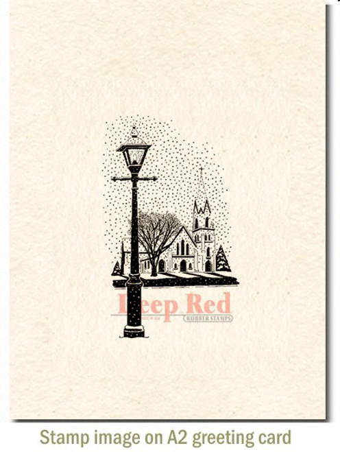 Winter Church Rubber Cling Stamp by Deep Red Stamps shown on A2 card