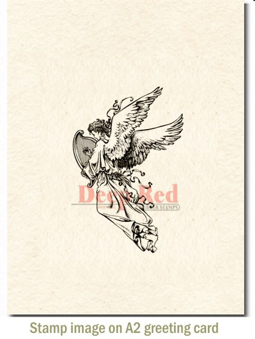 Angel with Harp Rubber Cling Stamp by Deep Red Stamps shown on A2 card