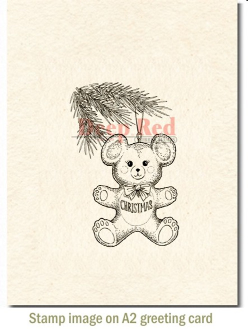 Christmas Bear Rubber Cling Stamp by Deep Red Stamps shown on A2 card