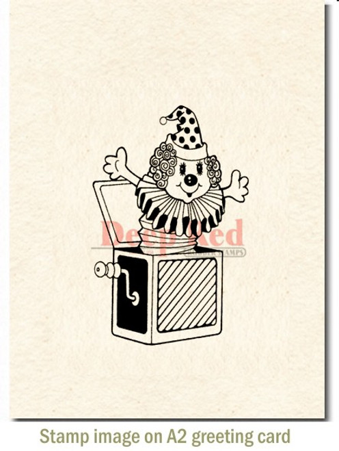 Jack in the Box Rubber Cling Stamp by Deep Red Stamps shown on A2 card