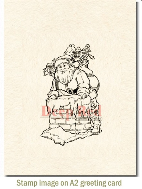 Santa Claus Rubber Cling Stamp by Deep Red Stamps shown on A2 card