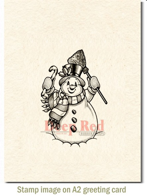 Frosty the Snowman Rubber Cling Stamp by Deep Red Stamps shown on A2 card