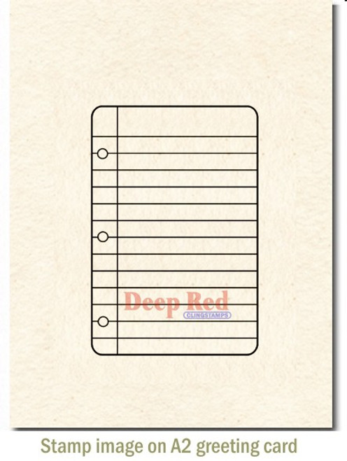 Notebook Paper Rubber Cling Stamp by Deep Red Stamps shown on A2 card