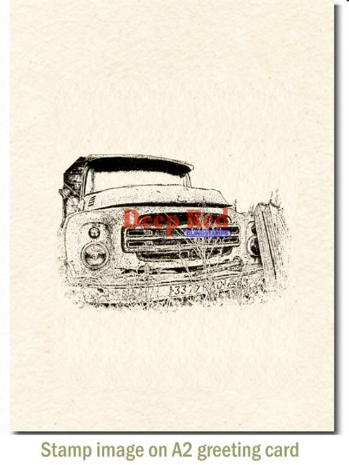 Rusty Truck Rubber Cling Stamp by Deep Red Stamps shown on A2 card