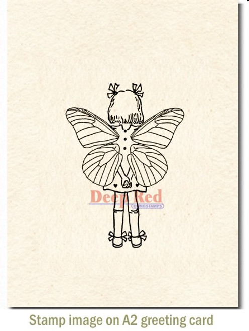 Fairy Time Out Rubber Cling Stamp by Deep Red Stamps shown on A2 card