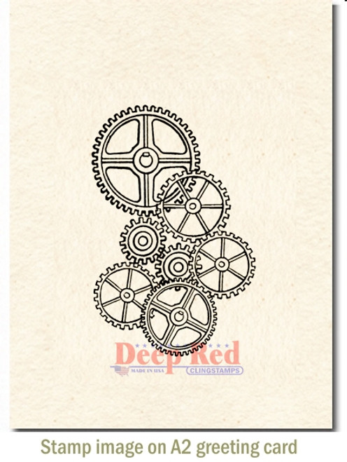 Gears Background Rubber Cling Stamp by Deep Red Stamps shown on A2 card