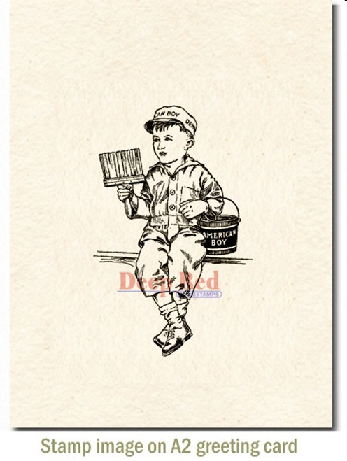 American Boy Rubber Cling Stamp by Deep Red Stamps shown on A2 card
