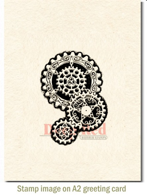 Steampunk Gears Rubber Cling Stamp by Deep Red Stamps shown on A2 card