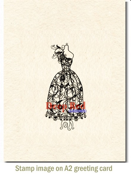 Dress Form Corsage Rubber Cling Stamp by Deep Red Stamps shown on A2 card