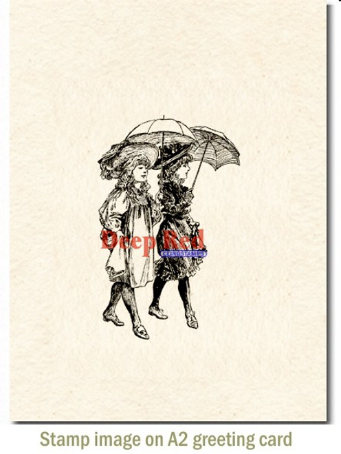 Parasol Stroll Rubber Cling Stamp by Deep Red Stamps shown on A2 card