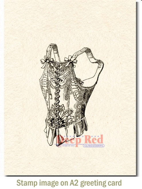 Victorian Corset Rubber Cling Stamp by Deep Red Stamps shown on A2 card