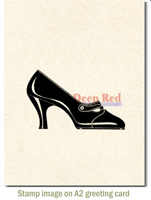 Fashion Pump Rubber Cling Stamp by Deep Red Stamps shown on A2 card