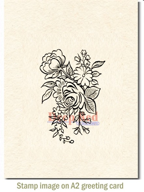Floral Arrangement Rubber Cling Stamp by Deep Red Stamps shown on A2 card