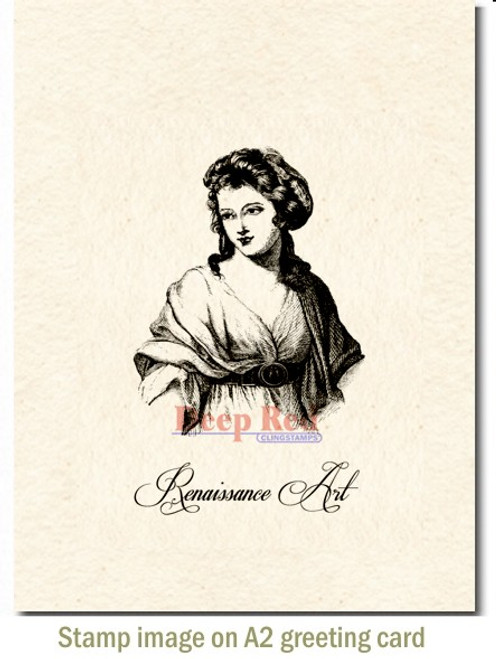 Renaissance Girl Rubber Cling Stamp by Deep Red Stamps shown on A2 card