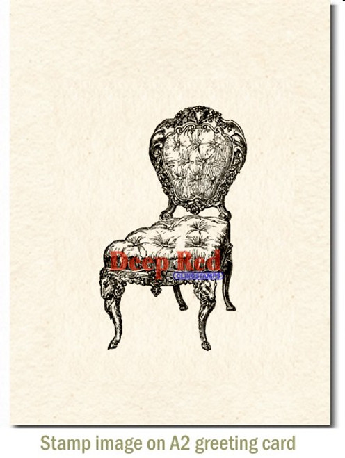 Victorian Velvet Chair Rubber Cling Stamp by Deep Red Stamps shown on A2 card