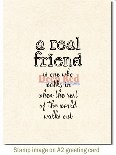 A Real Friend Rubber Cling Stamp by Deep Red Stamps shown on A2 card