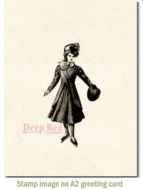 Vintage Skating Girl Rubber Cling Stamp by Deep Red Stamps shown on A2 card