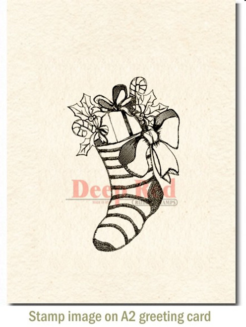 Christmas Stocking Rubber Cling Stamp by Deep Red Stamps shown on A2 card