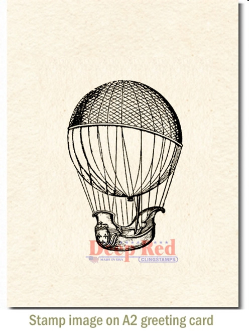 Airship Rubber Cling Stamp by Deep Red Stamps shown on A2 card