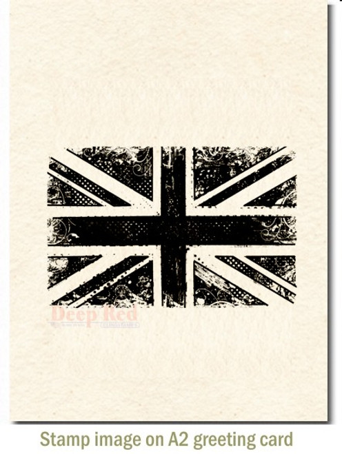 British Flag Rubber Cling Stamp by Deep Red Stamps shown on A2 card